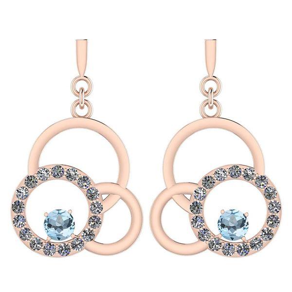 Certified 0.75 Ctw Blue Topaz And Diamond VS/SI1 Earrin