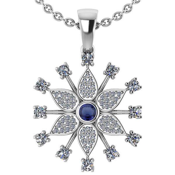 Certified 0.71 Ctw Blue Sapphire And Diamond Platinum G