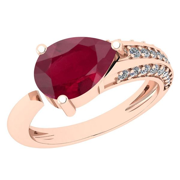 Certified 1.54 Ctw Ruby And Diamond VS/SI1 Halo Ring 14