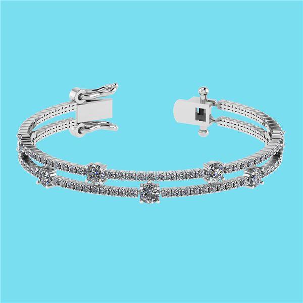 Certified 3.32 Ctw SI2/I1 Diamond 14K White Gold Bracel
