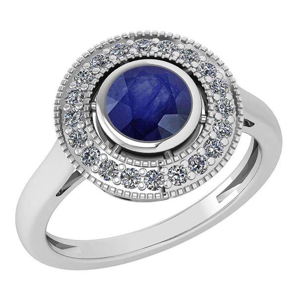 Certified 1.12 Ctw Blue Sapphire And Diamond Wedding/En