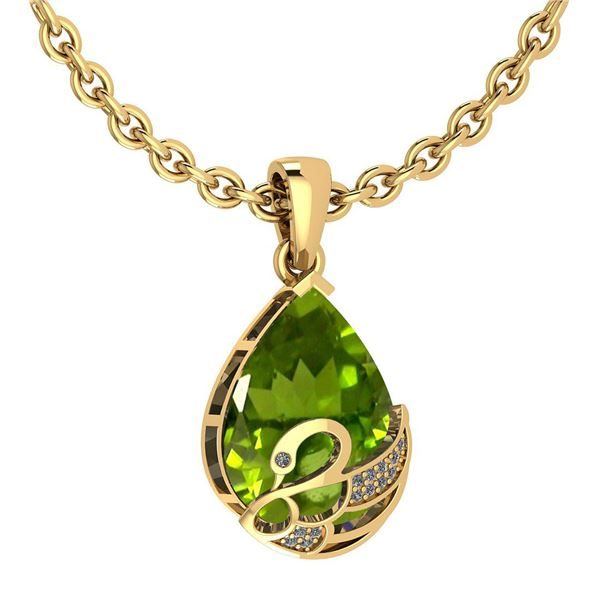 Certified 7.40 Ctw Peridot And Diamond VS/SI1 Necklace