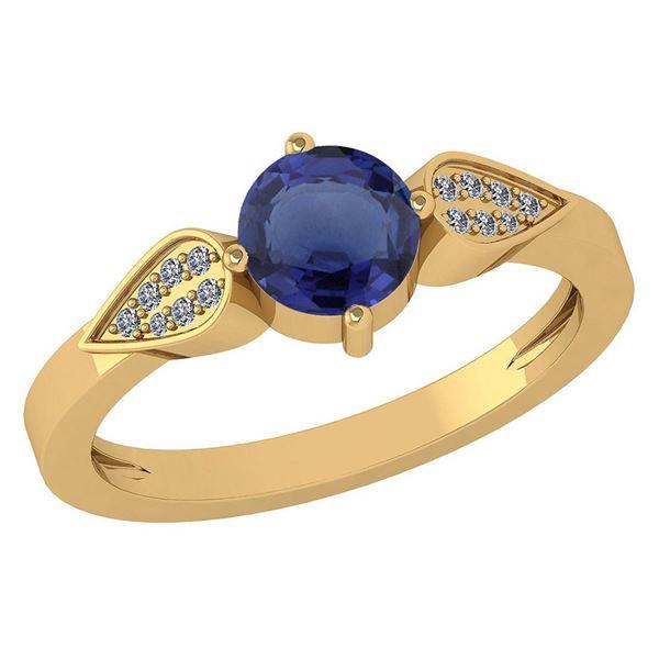 Certified 1.12 Ctw Blue Sapphire And Diamond 14k Yellow
