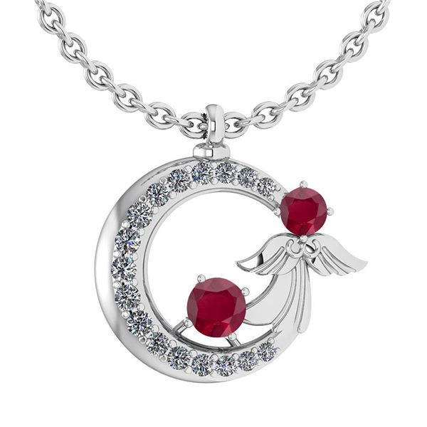 Certified 1.14 Ctw Ruby And Diamond Tiny Angel Necklace