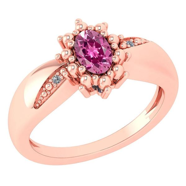 Certified 0.51 Ctw Pink Toumaline And Diamond 14k Rose