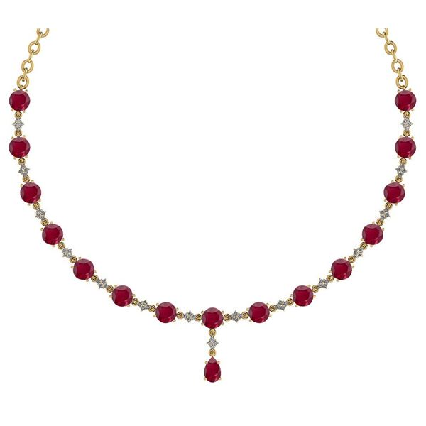 Certified 21.10 Ctw Ruby And Diamond Necklace For Ladie