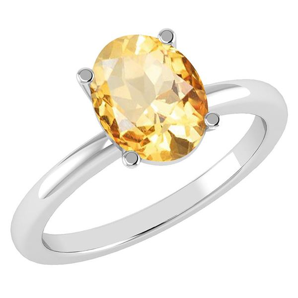 Certified 2.50 Ctw Citrine 14K White Gold Solitaire Rin