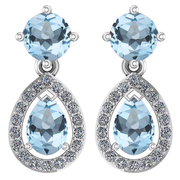 Certified 2.19 CTW Aquamarine And Diamond 14k White Gol