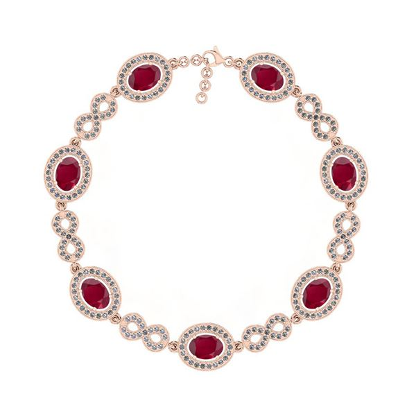 Certified 6.78 Ctw I2/I3 Ruby And Diamond 14K Rose Gold