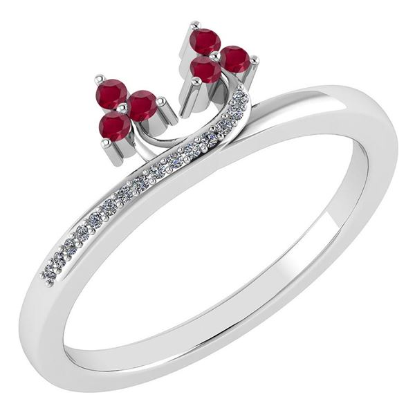 Certified 0.16 Ctw Ruby And Diamond 18K White Gold Ring