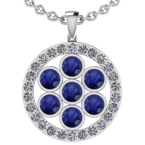 Certified 3.95 Ctw Blue Sapphire And Diamond VS/SI1 18k