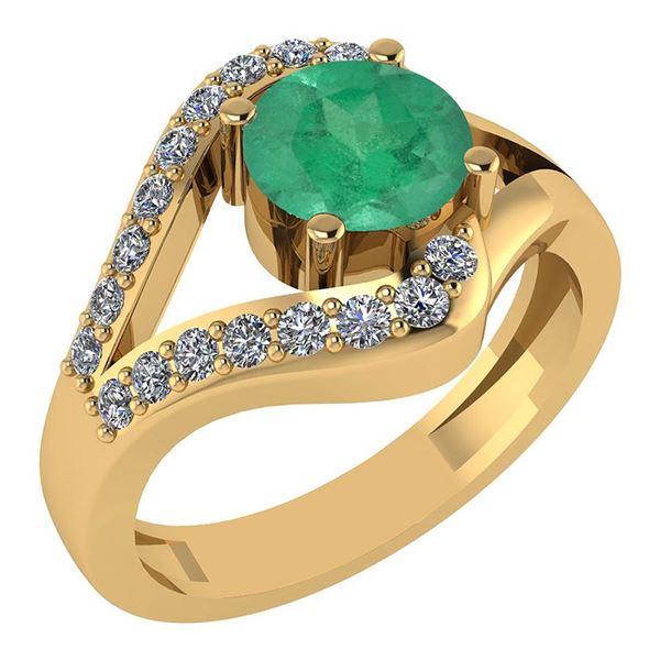 Certified 1.04 Ctw Emerlad And Diamond Wedding/Engageme