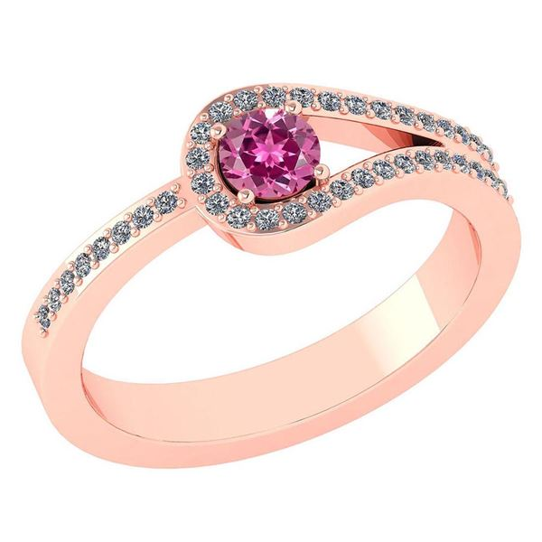 Certified 1.30 Ctw Pink Tourmaline And Diamond 14k Rose
