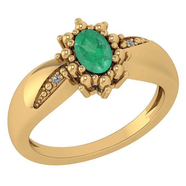 Certified 0.51 Ctw Emerald And Diamond 14k Yellow Gold