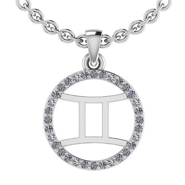 Certified 0.12 Ctw SI2/I1 Diamond 14K White Gold Zodiac