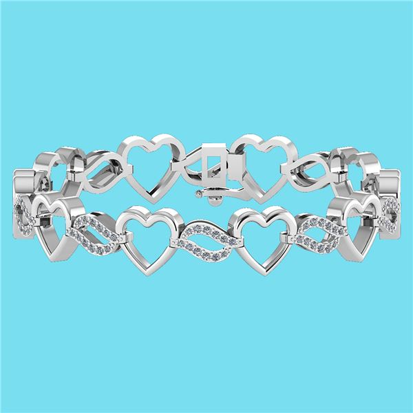 Certified 0.55 Ctw SI1/I2 Diamond 18K White Gold Bracel