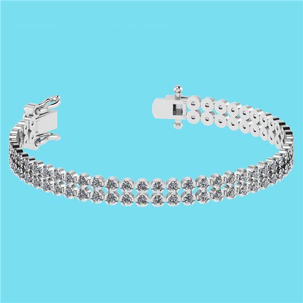 Certified 1.50 Ctw SI2/I1 Diamond 14K White Gold 2 Row