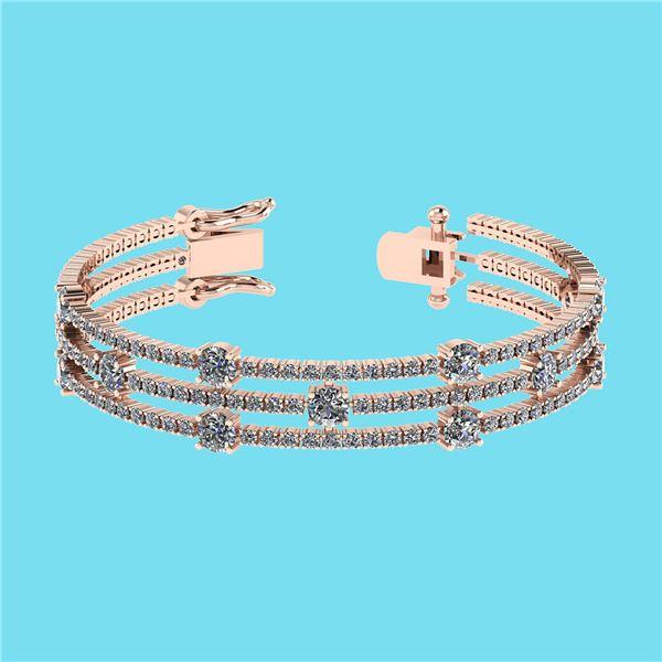 Certified 6.52 Ctw SI2/I1 Diamond 14K Rose Gold Bracele