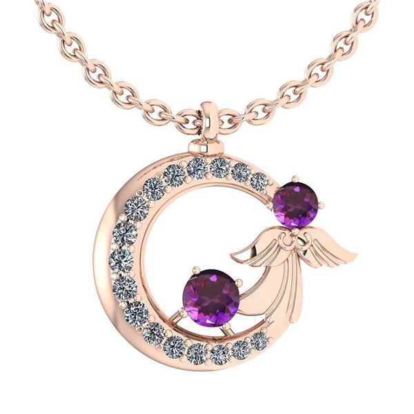 Certified 1.14 Ctw Amethyst And Diamond VS/SI1 Tiny Ang