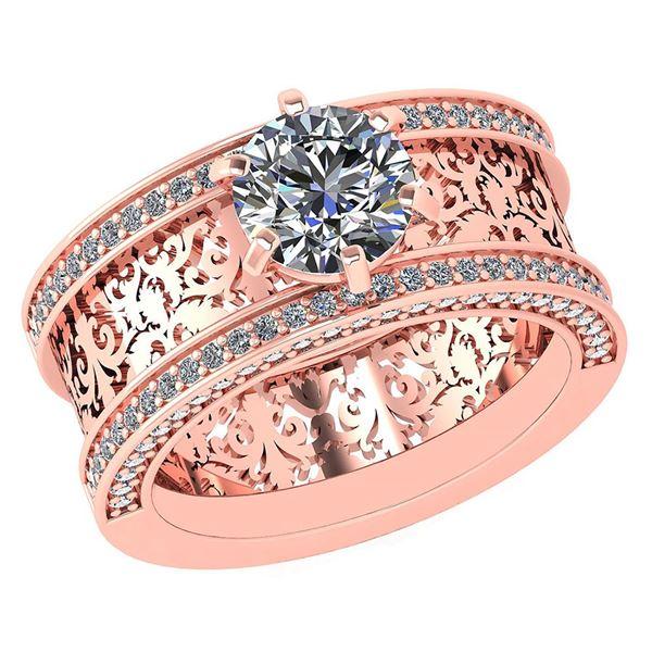 Certified 1.81 Ctw Diamond Wedding/Engagement 14K Rose