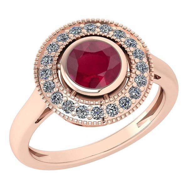 Certified 1.12 Ctw Ruby And Diamond Wedding/Engagement