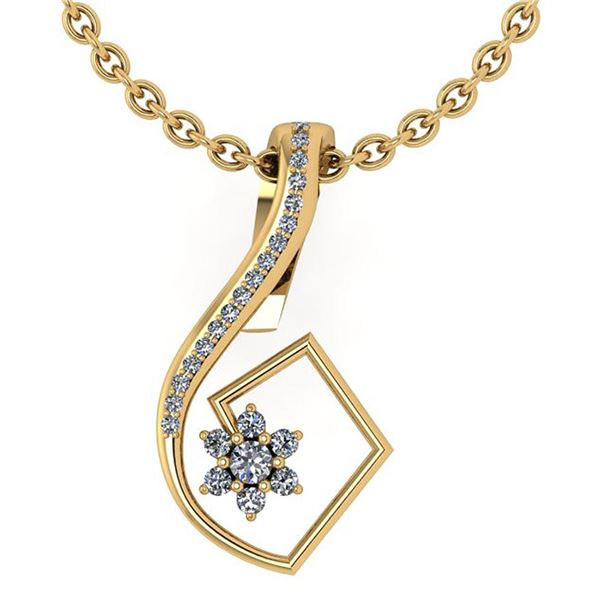 Certified 0.58 Ctw Diamond 14k Yellow Gold Halo Pendant