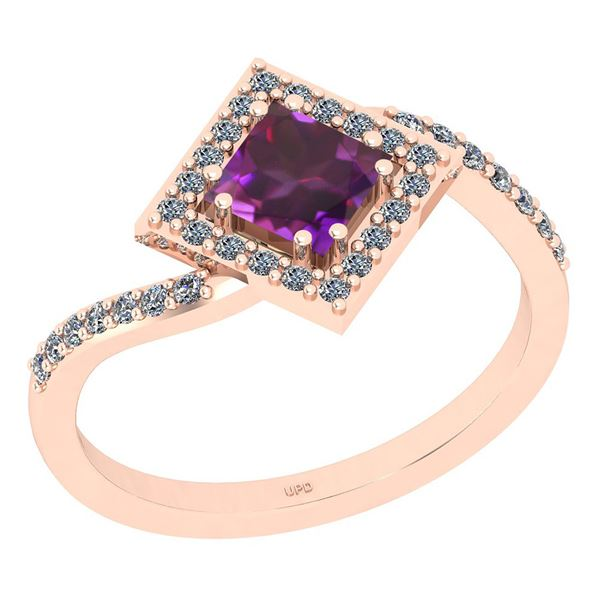Certified 1.02 Ctw I2/I3 Amethyst And Diamond 10K Rose