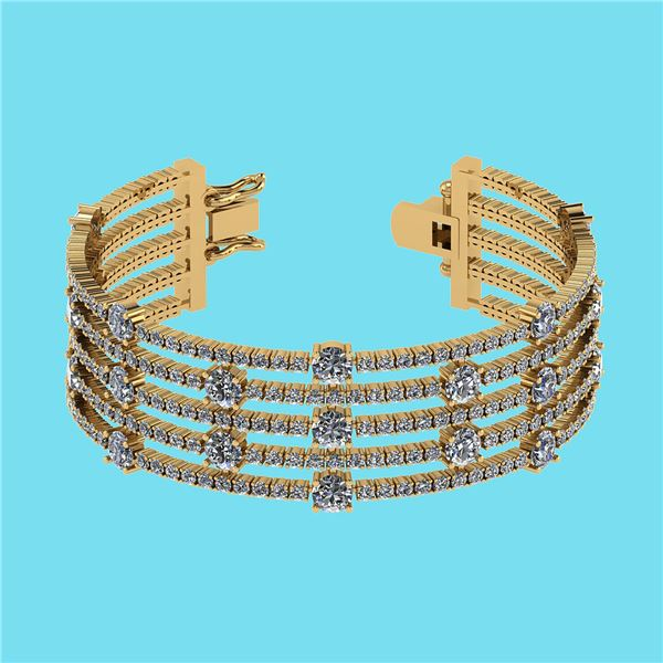 Certified 20.06 Ctw SI2/I1 Diamond 14K Yellow Gold Brac