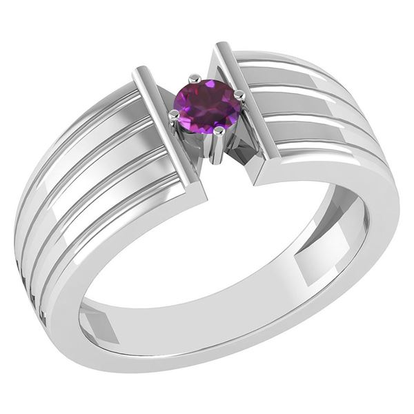 Certified 0.20 Ctw Amethyst Solitaire Ring 14K White Go