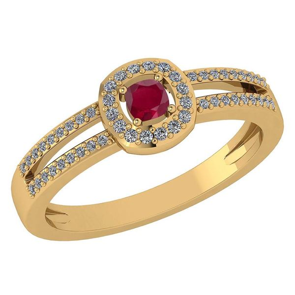 Certified 0.57 Ctw Ruby And Diamond 14k Yellow Gold Hal