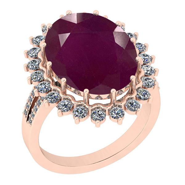 Certified 11.22 Ctw SI2/I1 Ruby And Diamond 14K Rose Go