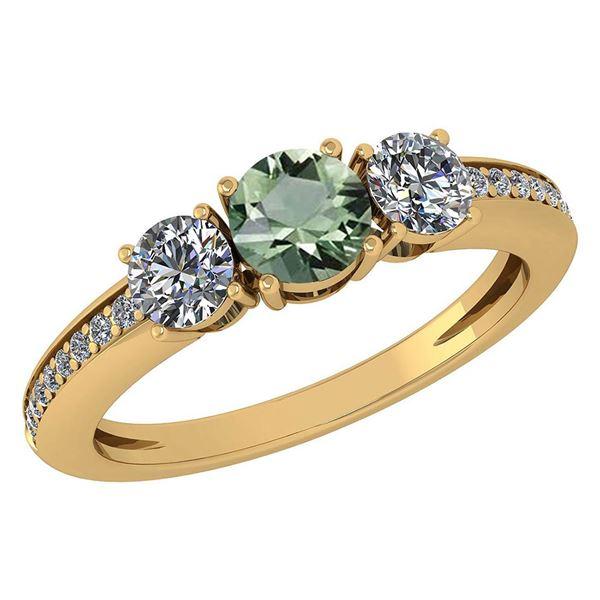 Certified 1.06 Ctw Green Amethyst And Diamond Wedding/E