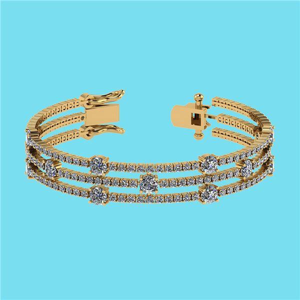 Certified 6.52 Ctw SI2/I1 Diamond 14K Yellow Gold Brace