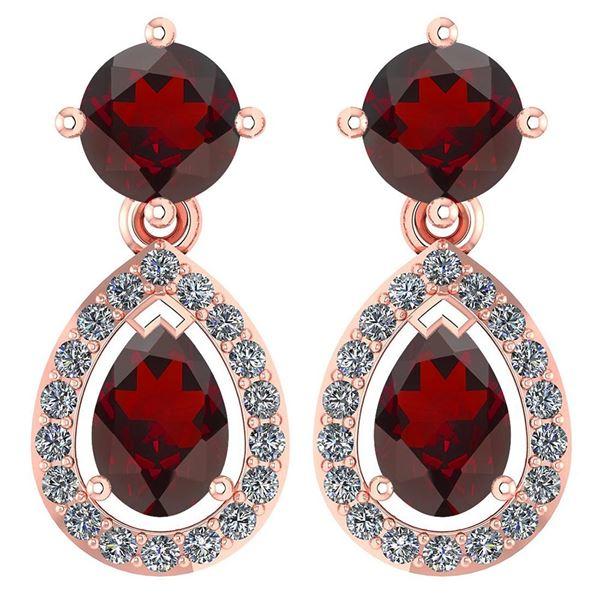 Certified 2.19 CTW Garnet And Diamond 14k Rose Gold Hal