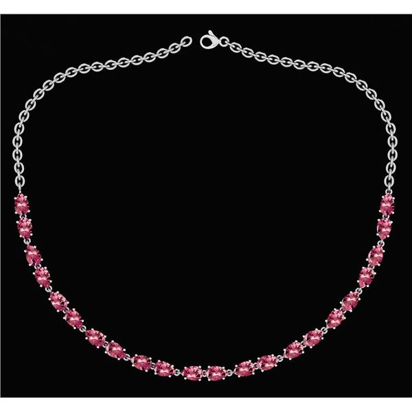 Certified 12.50 Ctw Pink Tourmaline Pear Shape Necklace