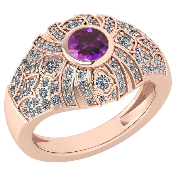 Certified 1.04 Ctw Amethyst And Diamond VS/SI1 Ring 14K
