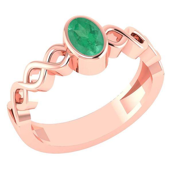 Certified 0.50Ctw Genuine Emerald 14K Rose Gold Ring