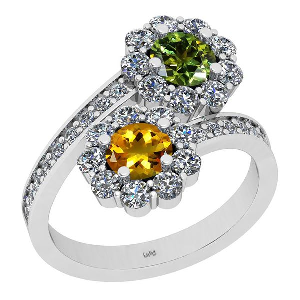 Certified 2.03 Ctw I2/I3 Multi Stone And Diamond 14K Wh
