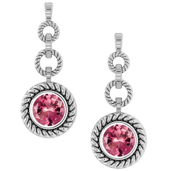 Certified 5.00 Ctw Pink Tourmaline Hanging Stud Earring