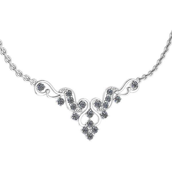 Certified 1.31 Ctw Diamond VS/SI1 Necklace 18K White Go