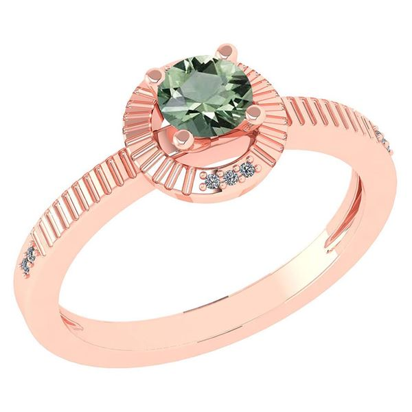 Certified 0.37 CTW Green Amethyst And Diamond 14k Rose
