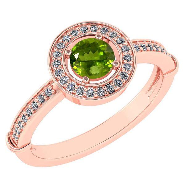 Certified 0.94 Ctw Peridot And Diamond 14k Rose Gold Ri