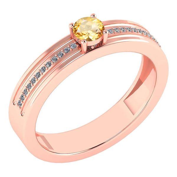 Certified 0.29 Ctw Citrine And Diamond 18k Rose Gold Ri