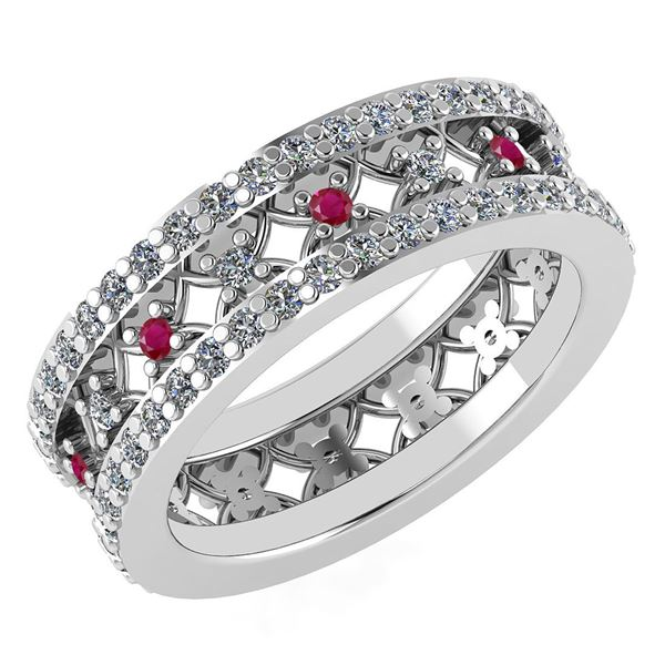 Certified 1.14 Ctw Ruby And Diamond 18K White Gold Halo