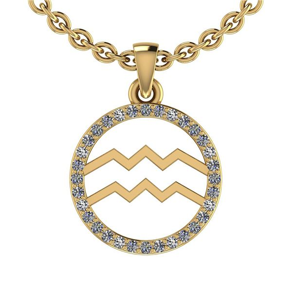 Certified 0.16 Ctw SI2/I1 Diamond 14K Yellow Gold Zodia