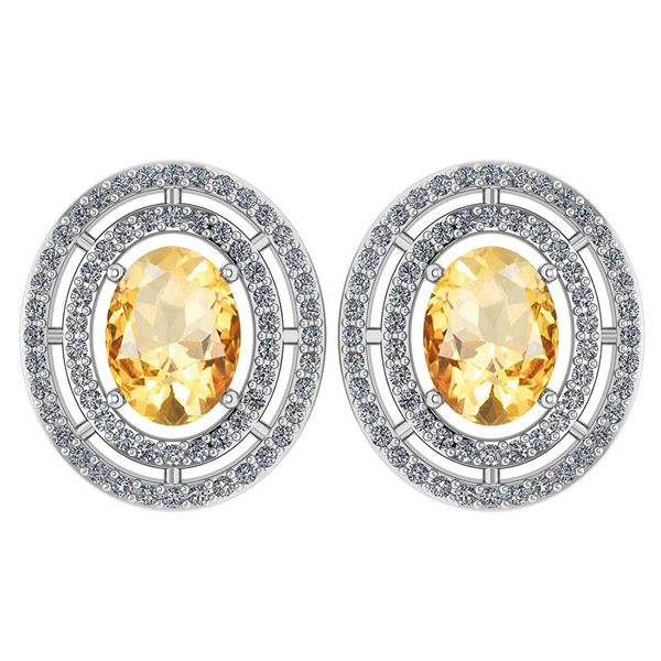 Certified 3.12 Ctw Citrine And Diamond 18K White Gold H