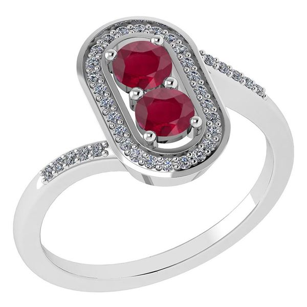 Certified 0.68 Ctw Ruby And Diamond 14k White Gold Halo