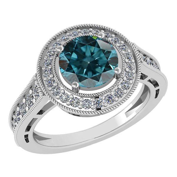 Certified 1.71 Ctw Treated Fancy Blue Diamond 18K White