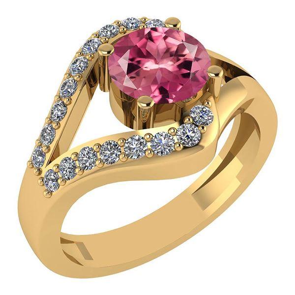 Certified 1.04 Ctw Pink Tourmaline And Diamond Wedding/