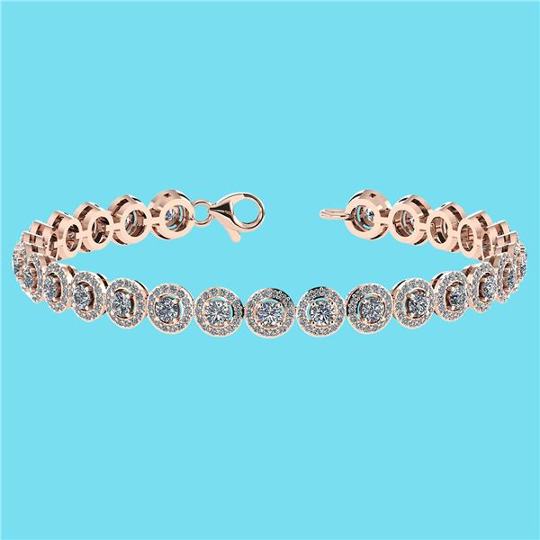 Certified 4.59 Ctw SI1/I2 Diamond 18K Rose Gold Bracele